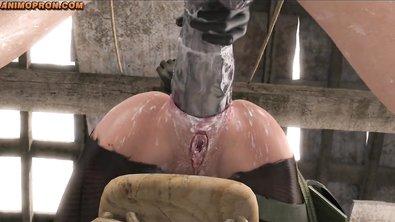 Хентай: анальная пытка сисястой бабы двойным проникновением гигантских хуев
