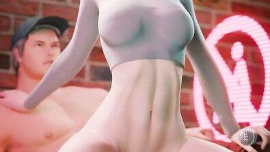 3Д-порно: сисястая героиня компьютерной игры скачет на хуе в позе обратной наездницы