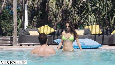 VIXEN Stunning Brunette has Fantasy Threesome on Vacation