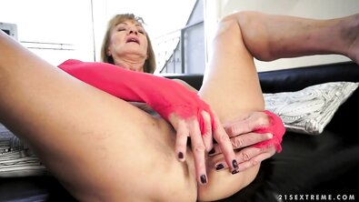 A Mature Woman Masturbates her Narrow Hairy Pussy, after she is Fucked in the Ass by a Young Man.